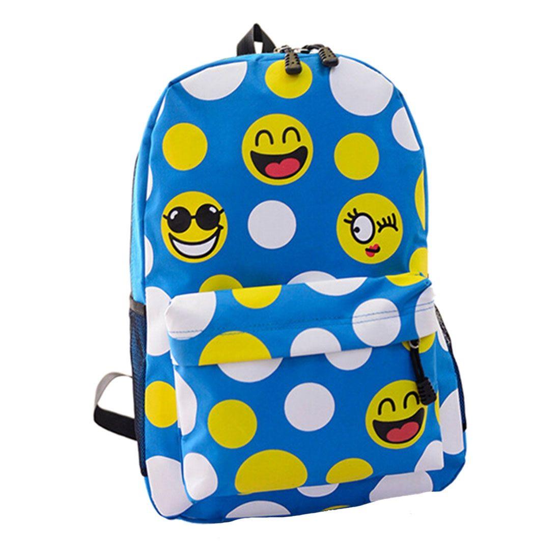 10525849b0e1 Smiley Emoji Backpack Funny Emoticon Pack School Shoulder Bag Boys Girls  Sky Blue