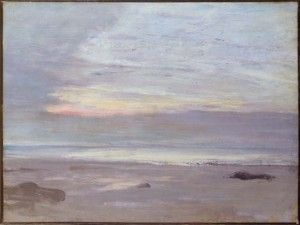 James Abbott McNeill Whistler (American, 1834–1903), Crepuscule in Opal, Trouville, oil on canvas, 1865. 13 3/4 x 18 1/8 in. Gallery 30B