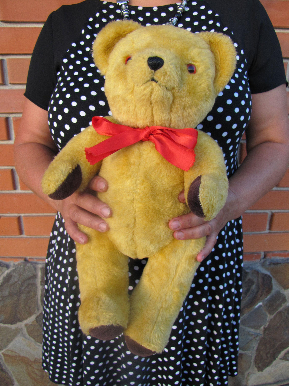 1970s Large English Teddy Bear Yellow Roaring Bear Shabby Etsy Teddy Bear Teddy Bear