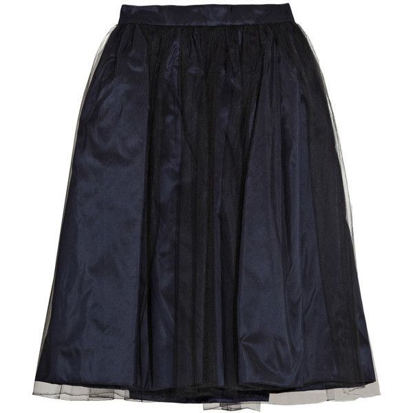 Oscar de la Renta Tulle and silk-taffeta skirt (10,800 MXN) ❤ liked on Polyvore featuring skirts, bottoms, saias, oscar de la renta, oscar de la renta skirts, silk taffeta skirt, black tulle skirt and navy blue skirt