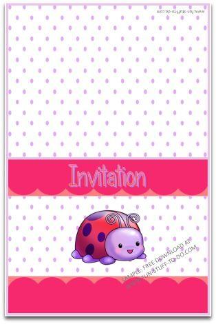 Printable Party Invitation Free Instant Download Ladybug Purple Polka Dot