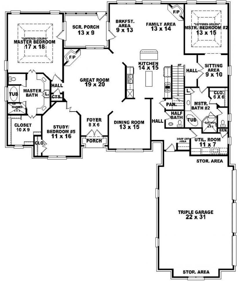 Ranch Floor Plans With 12 Master Suites  Bedroom floor plans