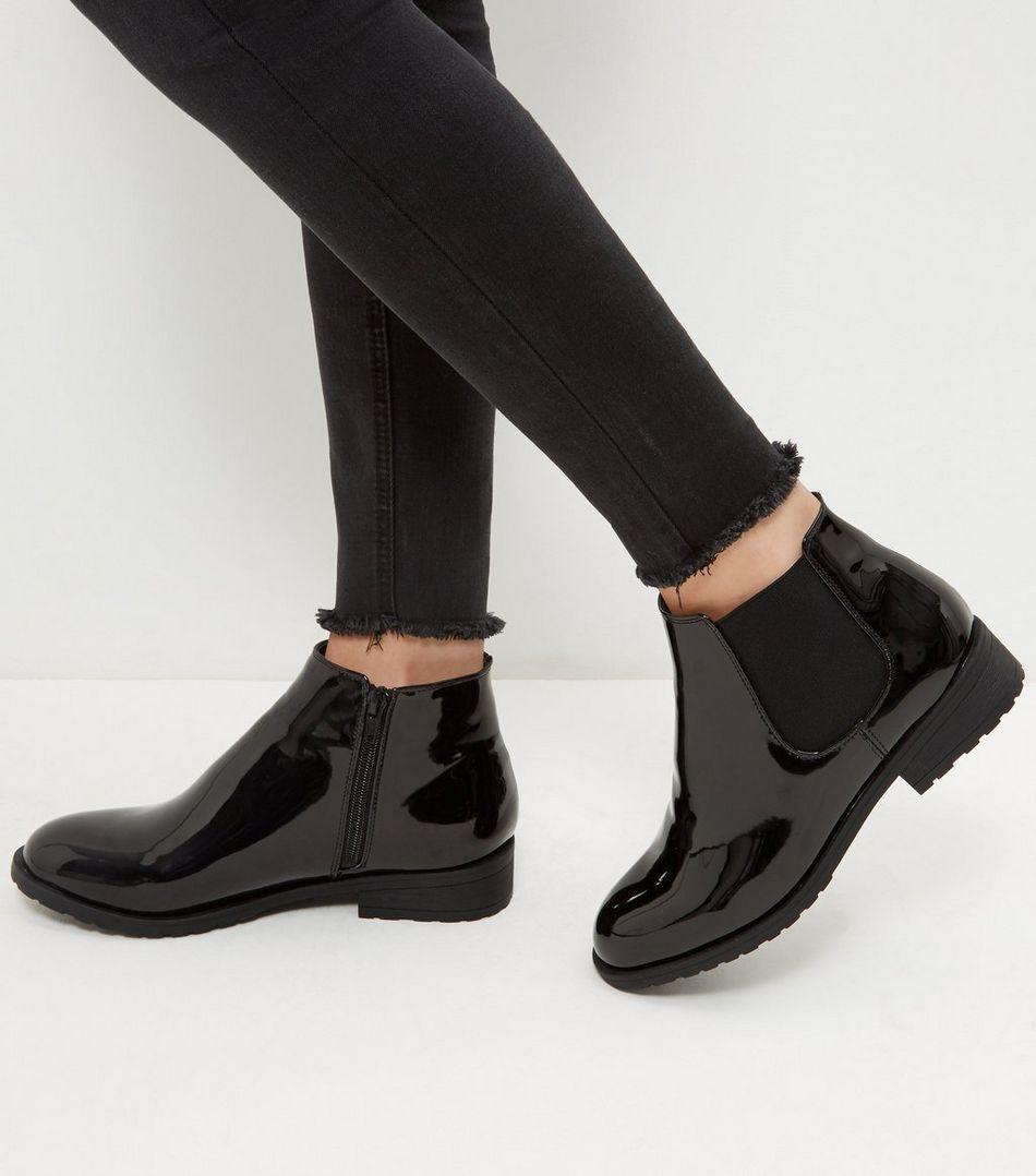 Wide Fit Black Patent Chelsea Boots