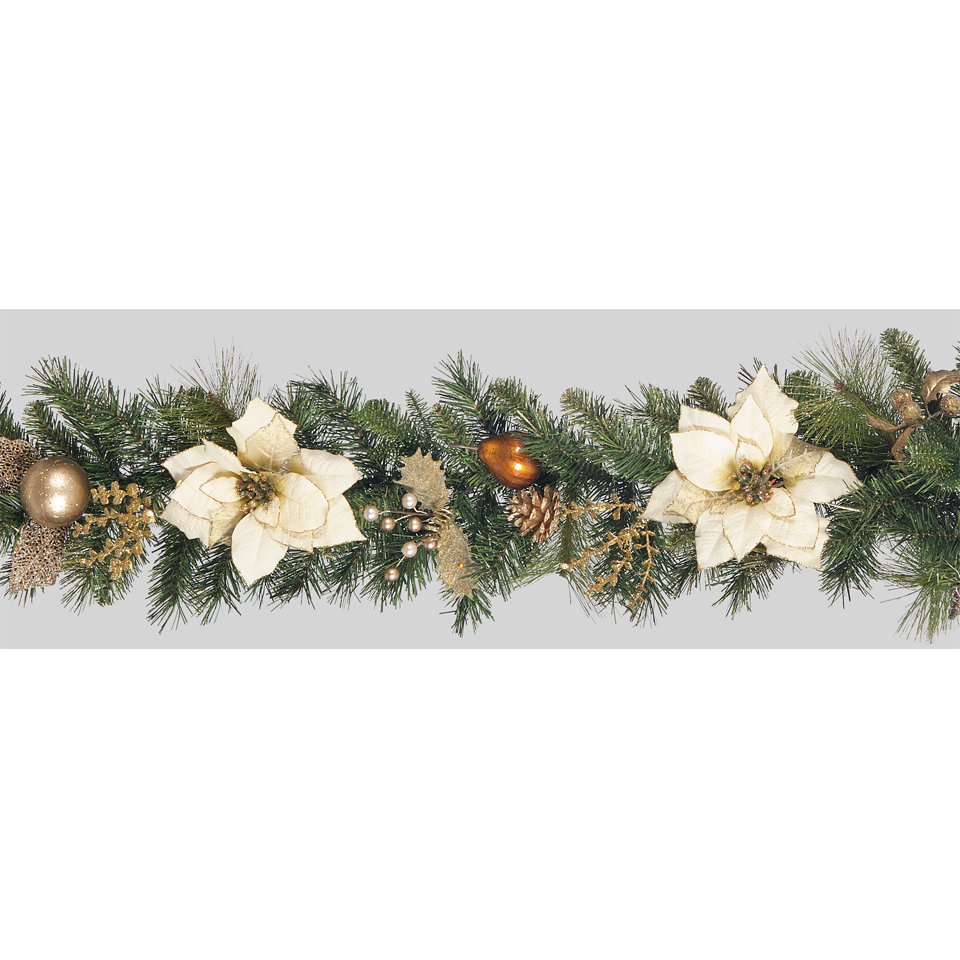 6ft Cream Poinsettia Garland with Gilded Berries and Cones