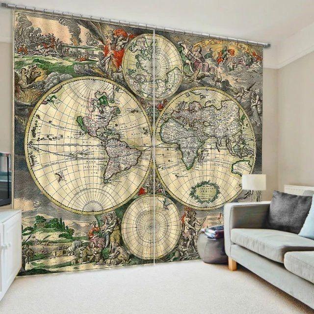 3d 2 panel curtain set vintage world globe map beautiful blackout style unbranded
