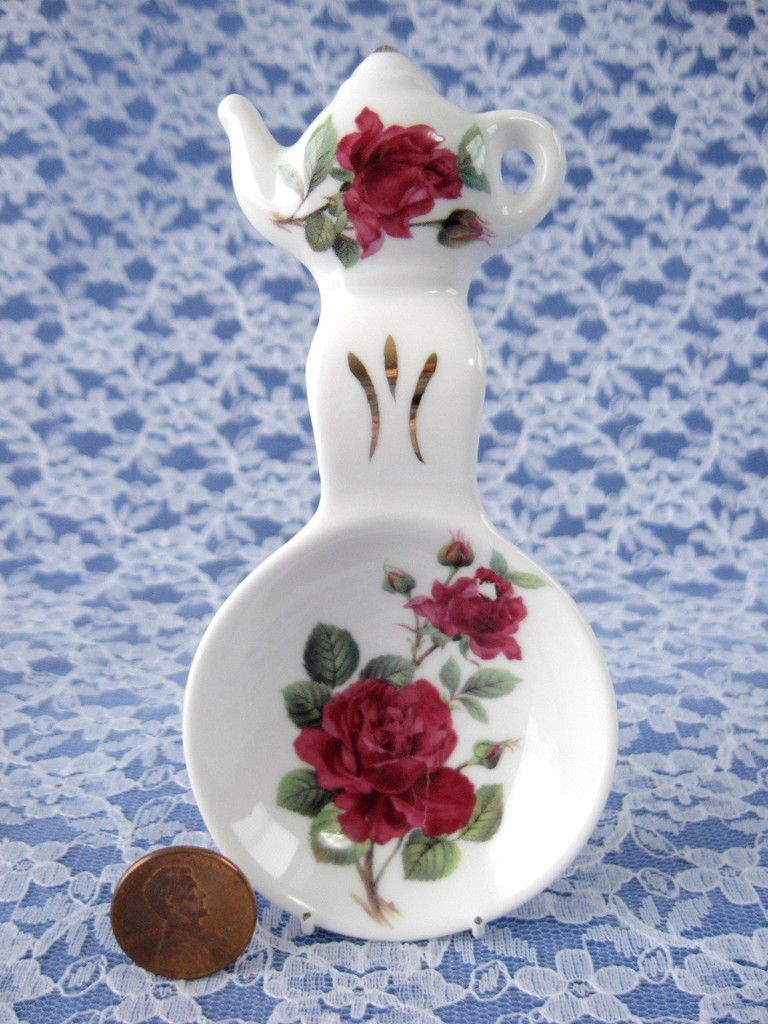 Royal Patrician Tea Bag Caddy Tea Scoop Burgundy Rose 2002 English Bone China