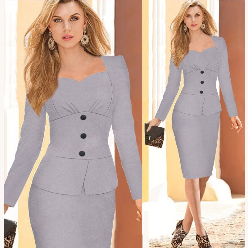 4c964db99ac5 Nuevo 2015 Mujeres Ropa de Trabajo Vestidos De Fiesta Botón Elegante ...