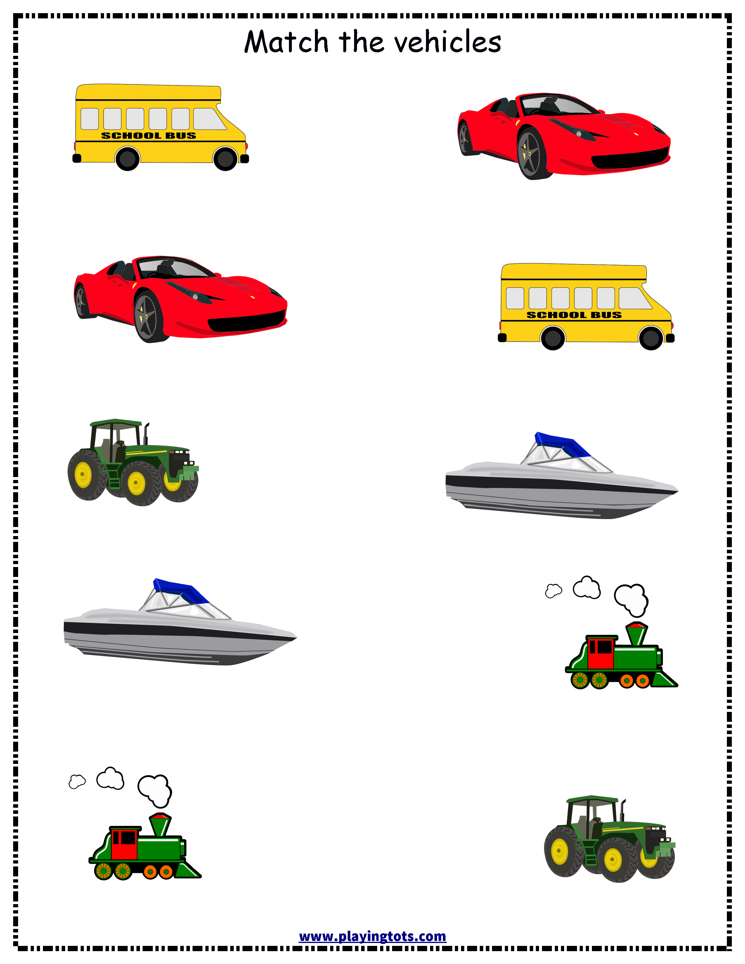 Free Vehicle Matching Printable Worksheet For Toddler