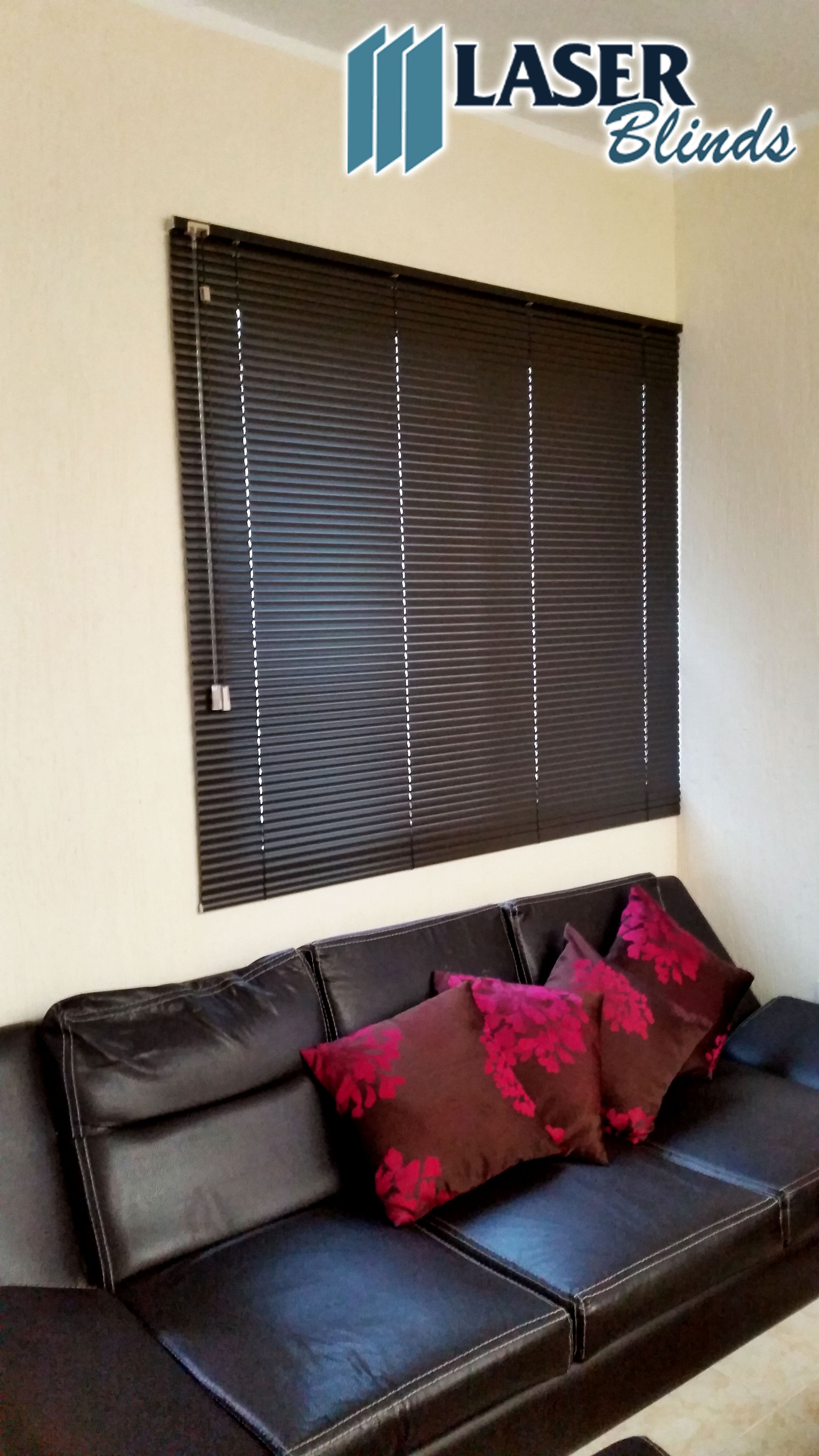Ventana Con Persiana Interior Persiana Horizontal De Aluminio Color Chocolate Laser Blinds