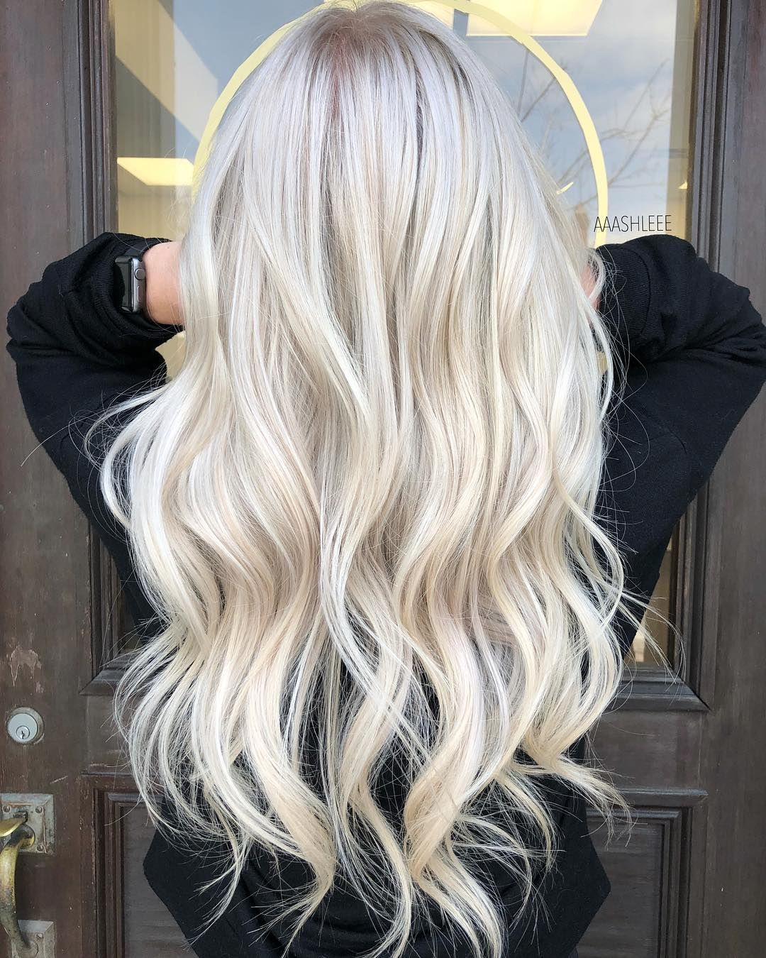 Full Head Of Foil Highlights On This Babe She Likes To Be As Blonde As Possible At Her Base But Icy Blonde Hair Blonde Hair Color Blonde Hair Looks