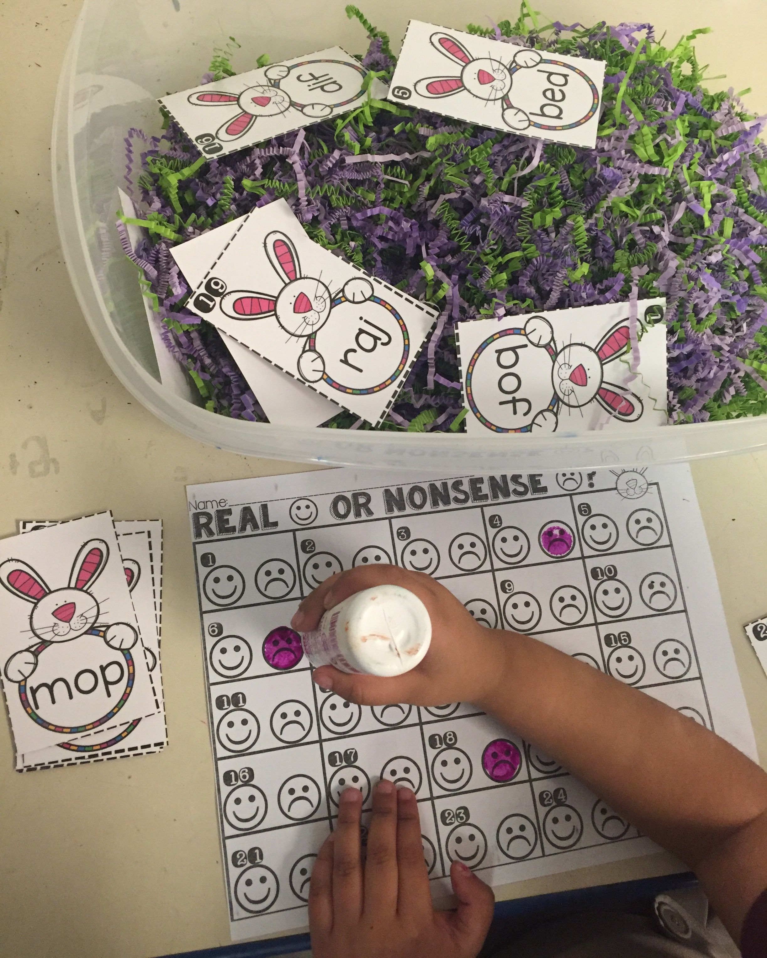 Real And Nonsense Word Center Bunny Theme