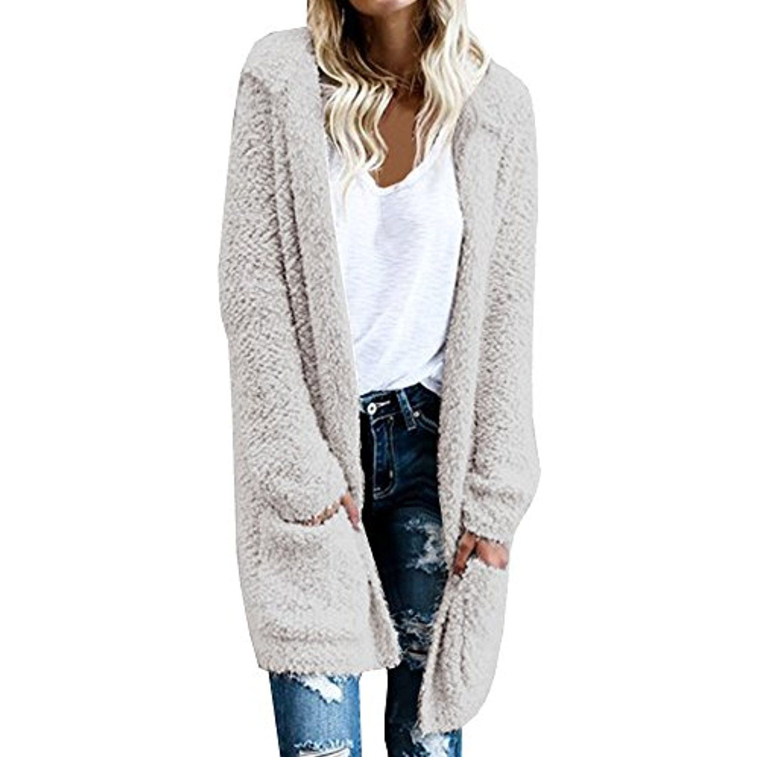 Women's Open Front Long Thick Knit Hoodie Two Pockets Cardigan ...