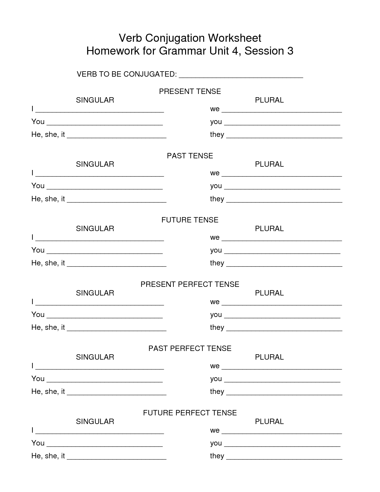 Spanish Verb Conjugation Worksheets Blank
