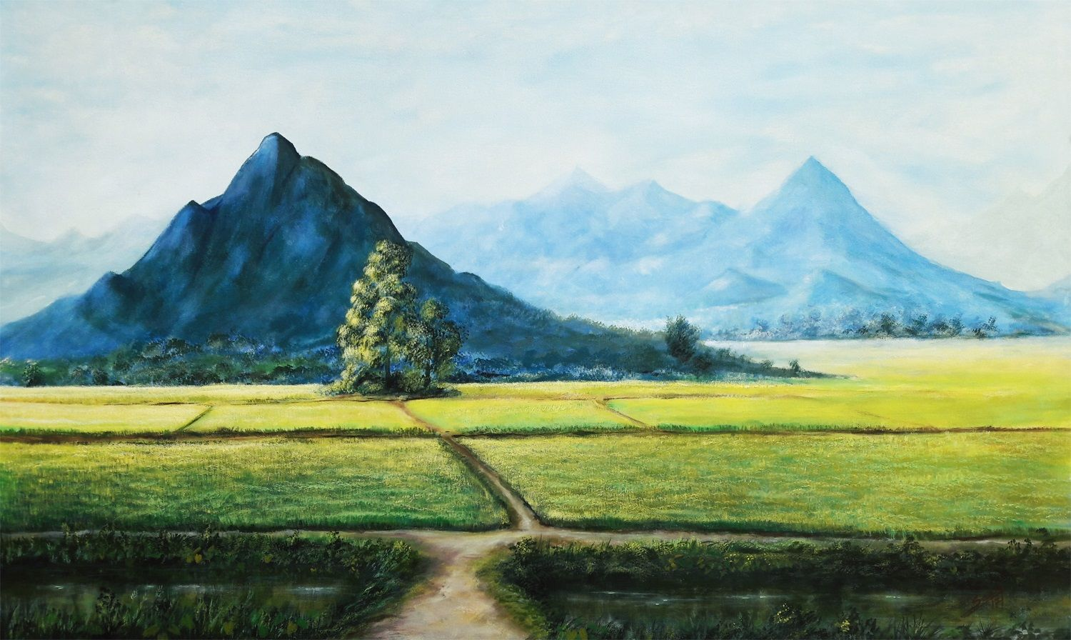 Nature Landscape Realistic Mountain Painting Art Sky Landscape Painting Canvas Painting Landscape Landscape Paintings