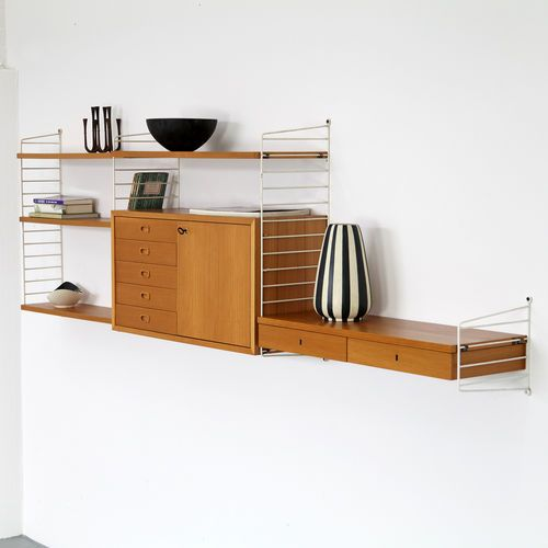Nisse Strinning Wall-Unit 60s Made in Sweden String Regal System - wandbilder für wohnzimmer