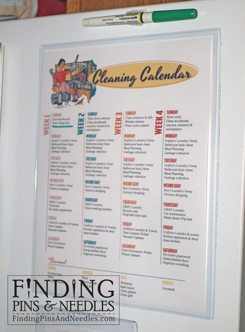 Printable Cleaning Calendar and Meal Calendar Home organization