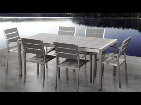 Patio Dining Set Aluminum Furniture Vernio Grey