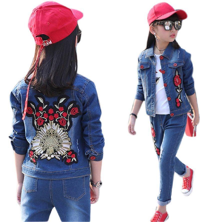 34e4957a7f222 Children denim clothing set 2018 spring autumn girls boys jacket ...