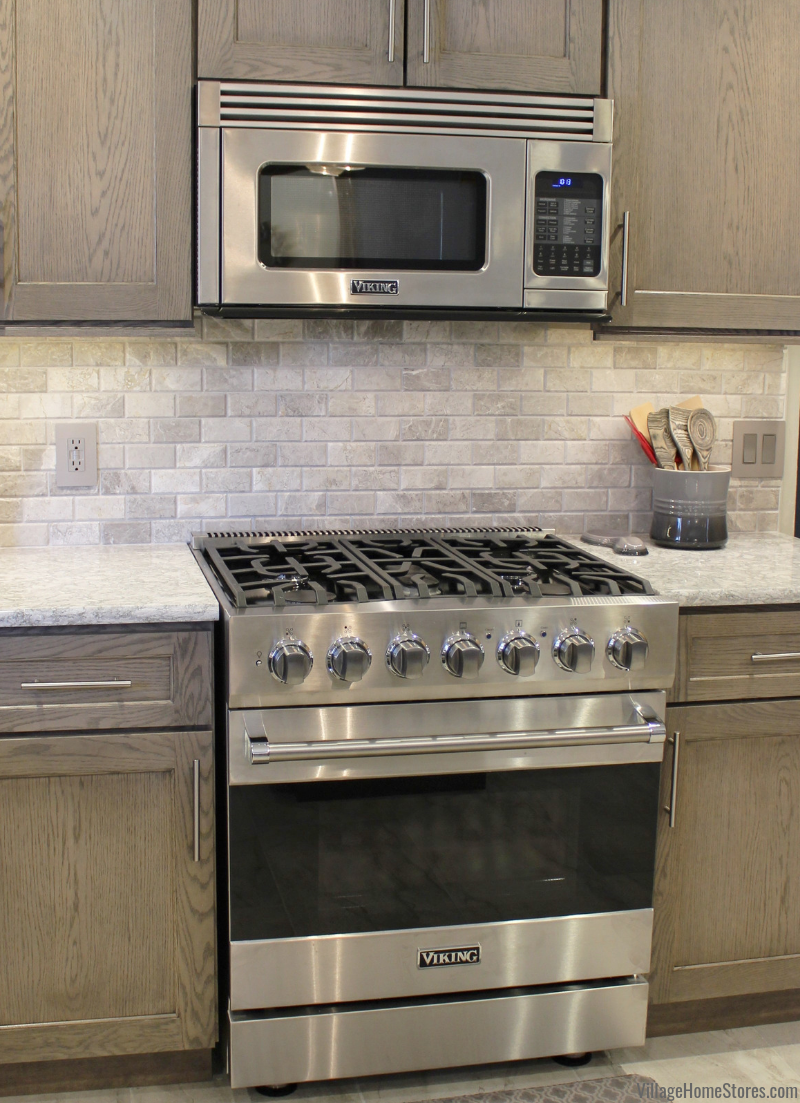 Warm Gray Oak Kitchen With Viking Range And Microwave Hood Village Home Stores Is Your Expert Quad Cities Viking Range Dest Oak Kitchen Grey Oak At Home Store