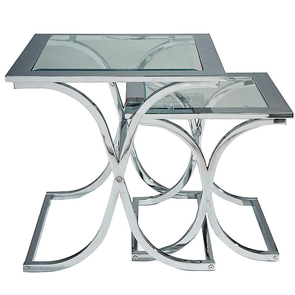 Houston Glass Chrome Nest Of Tables Interior Design