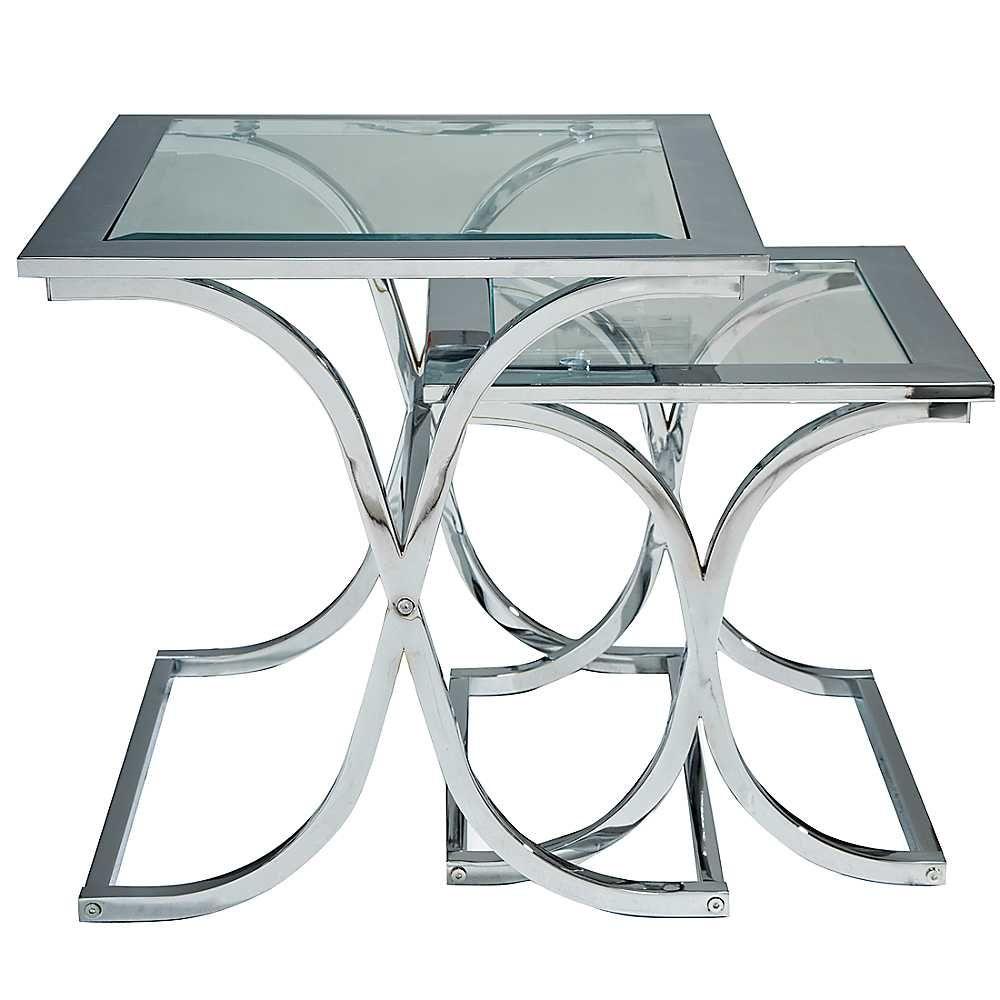Houston Glass Chrome Nest Of Tables Interior Design