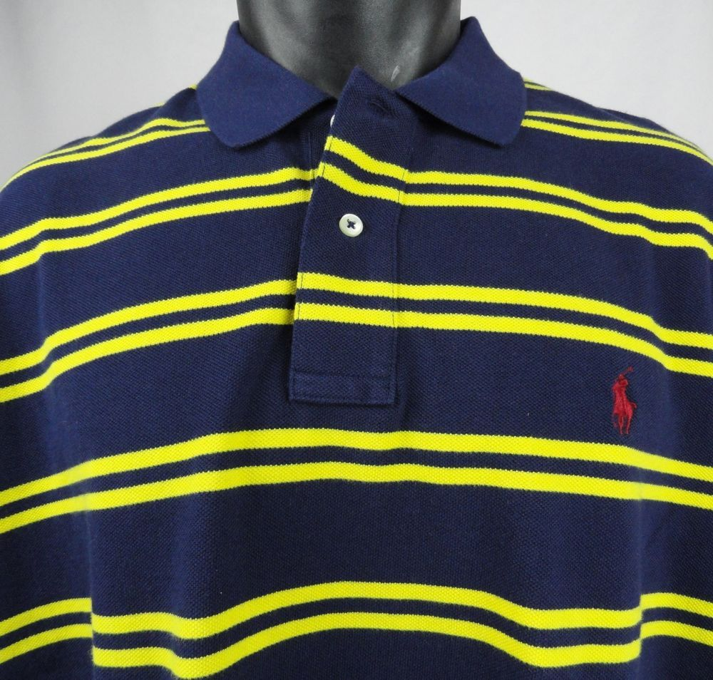 585553a33 NWT Polo Ralph Lauren Mens XXL Striped Blue/Yellow Polo Shirt Classic Fit  Mesh #PoloRalphLauren #PoloRugby