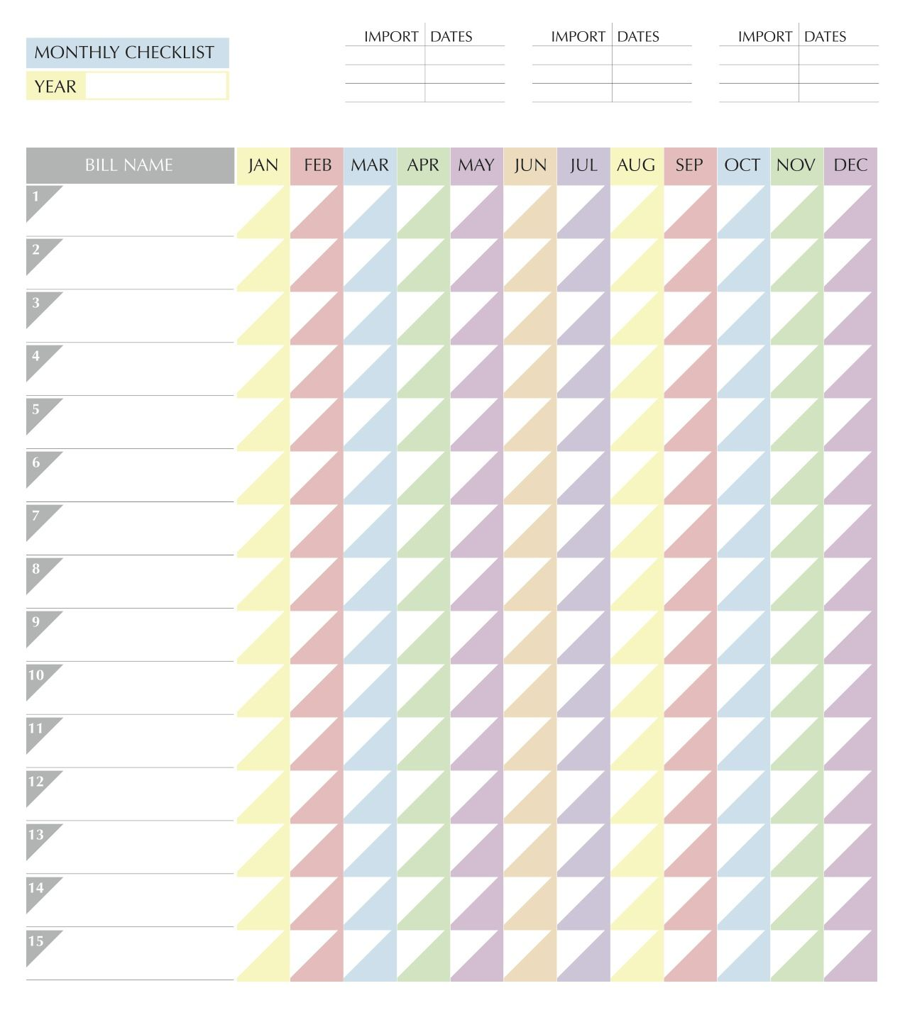Monthly Bills Chart Naptural85