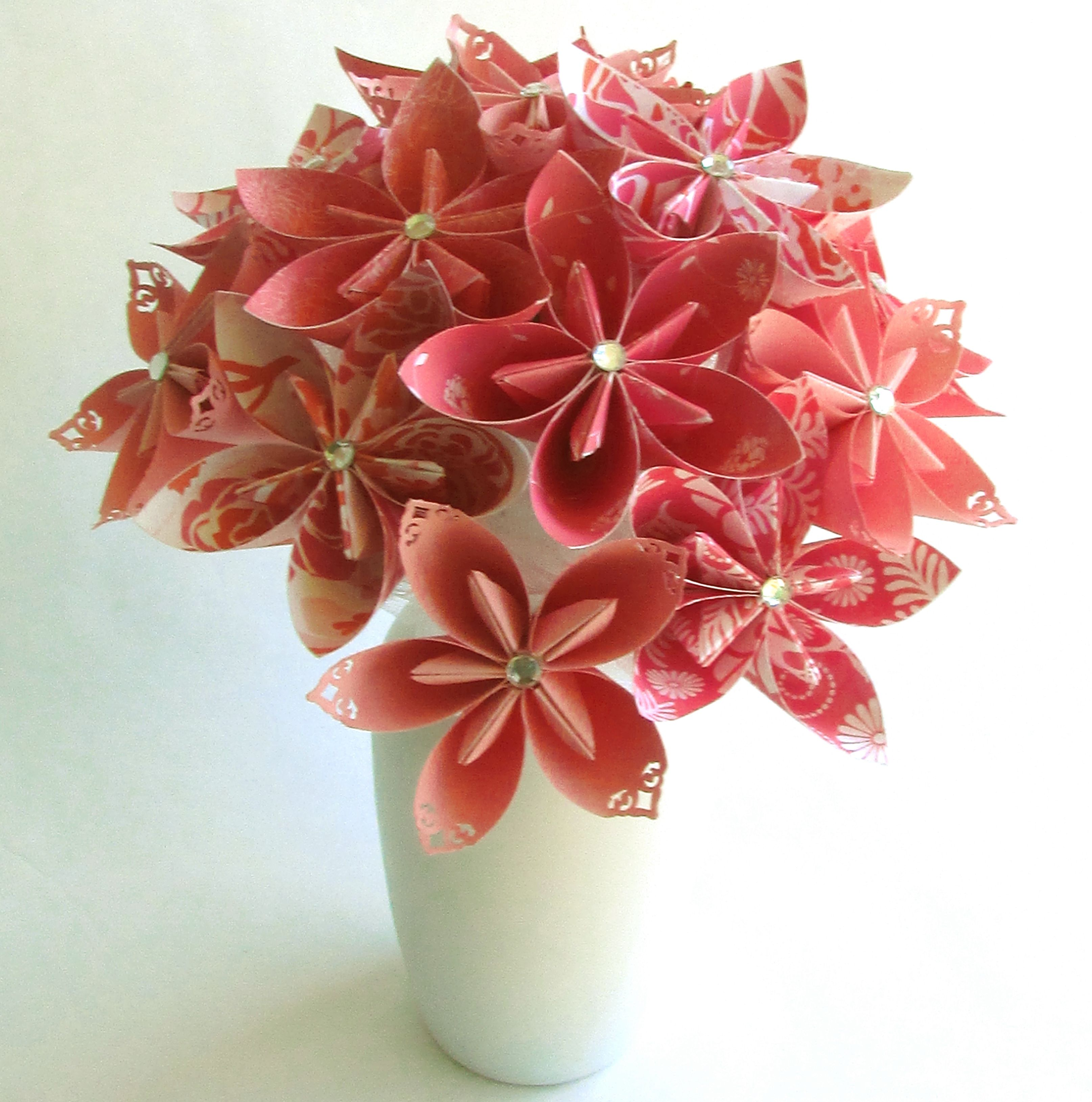 Coral Breezes Bouquet In Vase Paper Flower Bouquet Paper Bouquet