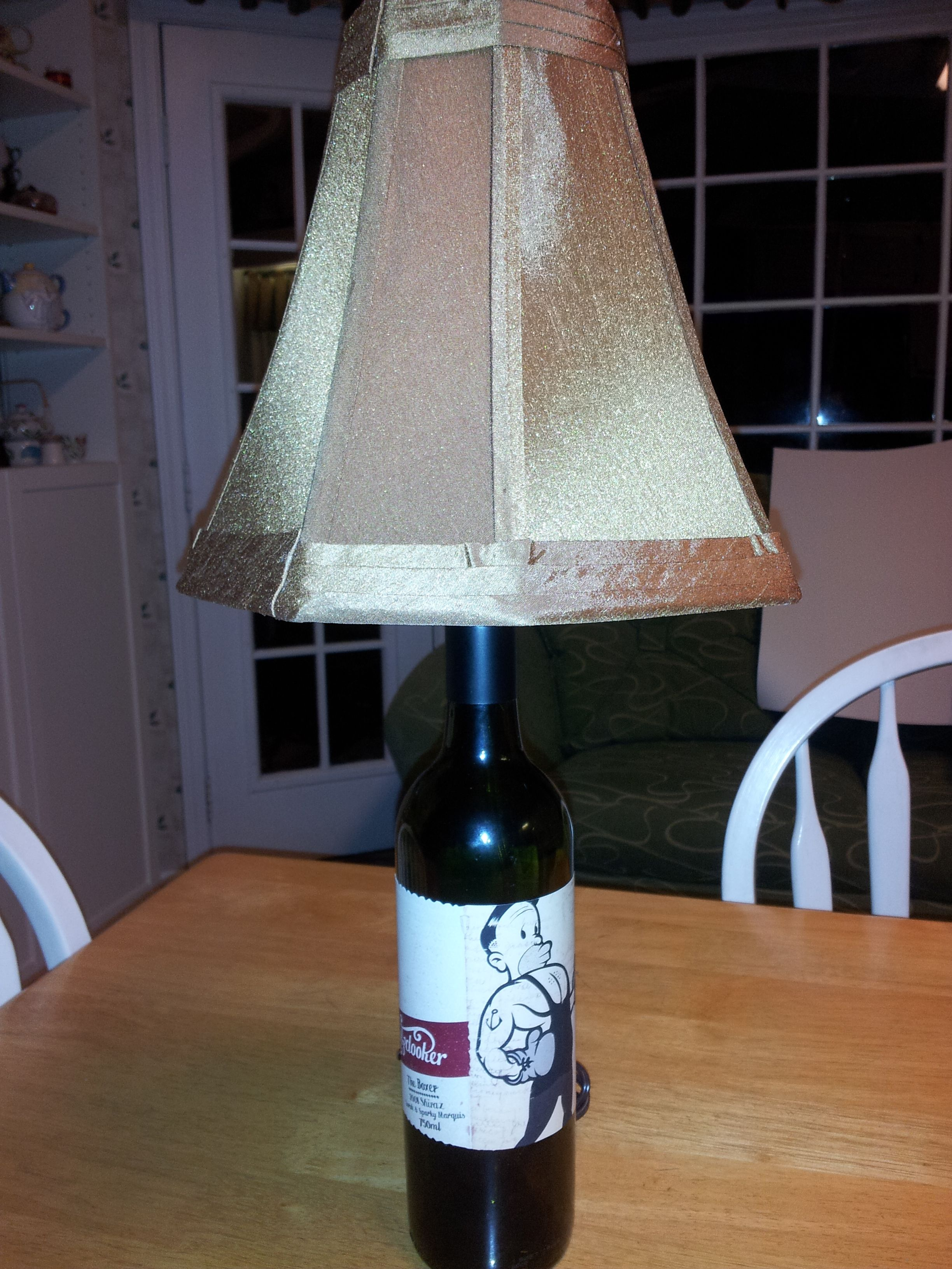 Made this lamp out of a cute wine bottle crafts for Lamps made out of wine bottles