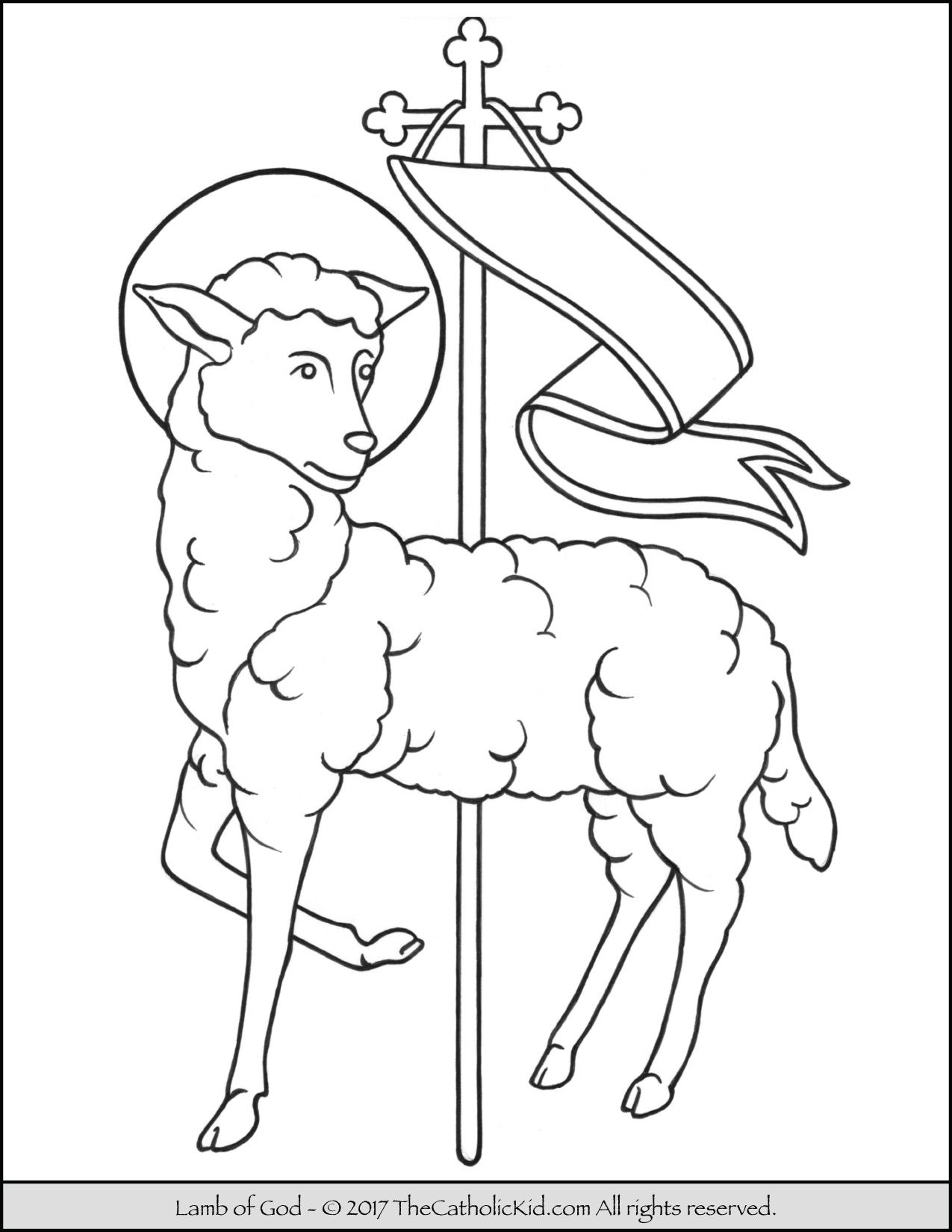 Lamb Of God Coloring Page Thecatholickid Com Jesus Coloring