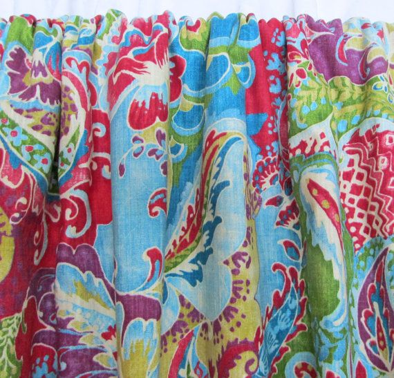 """Bright Bohemian Curtains, Boho Home Decor, Multi-Colored Window Curtains, Bright Floral Paisley Drapes, Rod-Pocket, One Pair 50""""W"""