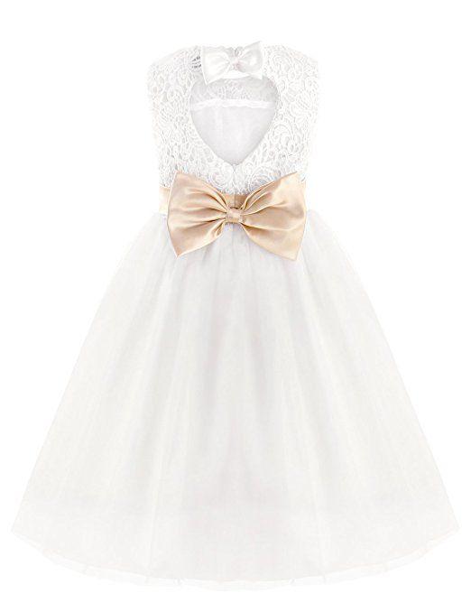 6e468eba195f0 iEFiEL Elégante Robe de Mariage Blanche Sans Manches Coeur Noeud Papillon  Enfant Fille 2-12