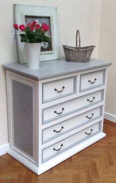 SOLD – VINTAGE PINE Dresser- Chest Of Drawers hand painted in Annie Sloan Paris Grey and Old White. Similar can be sourced for commission