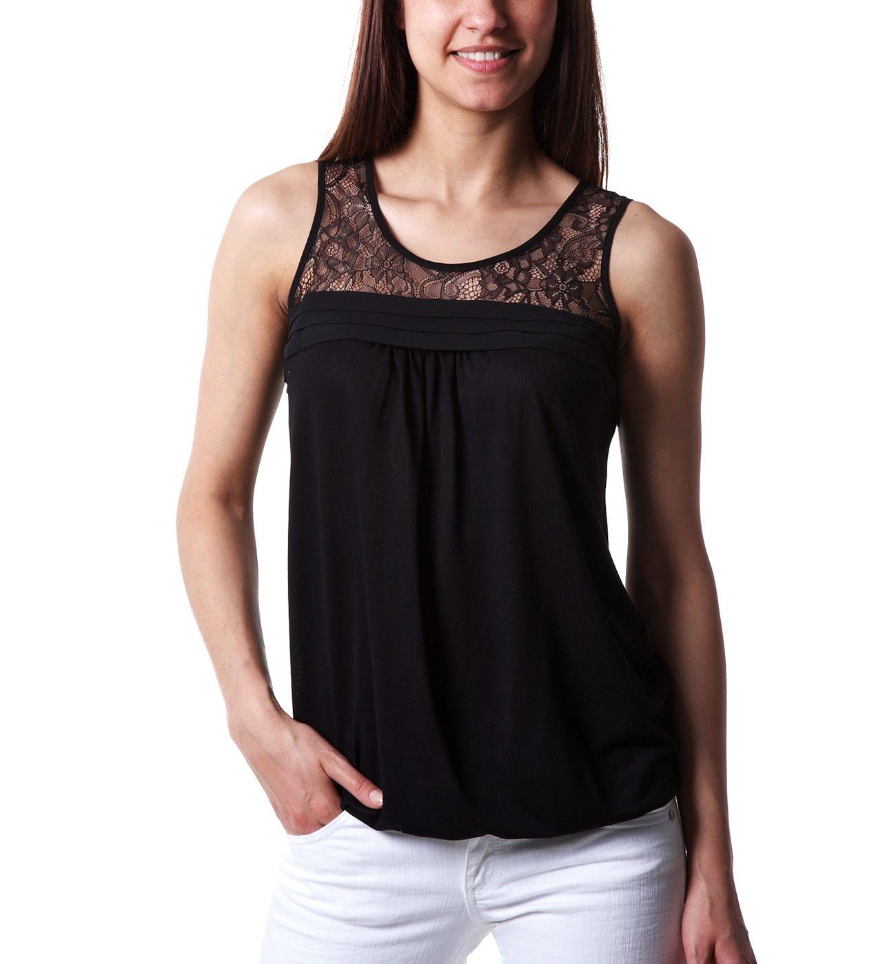 Blusa con volantes Negro Camisas Blusas Mujer Promod