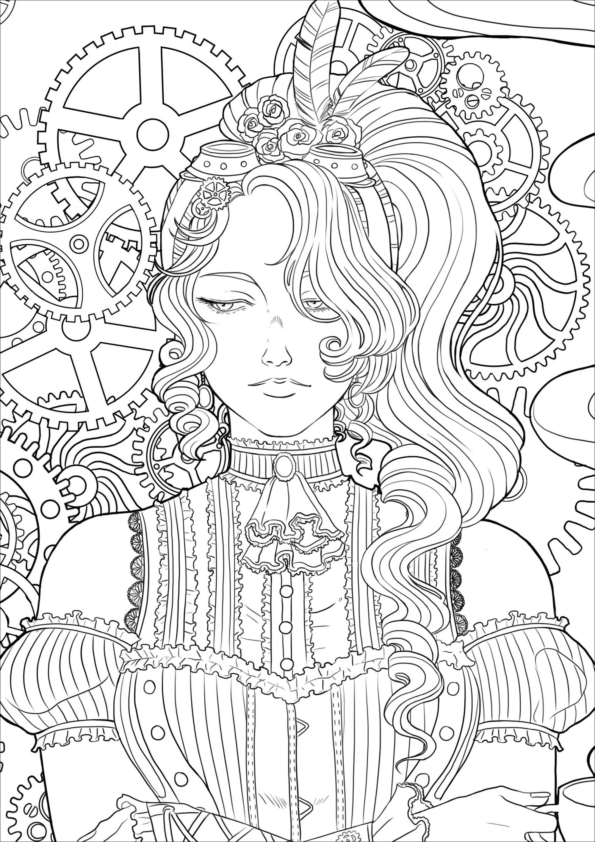 Steampunk Woman With Coffee Version 3 Coloring Page Of A Melancholy Young Woman With A Cup Of Te Steampunk Coloring Coloring Pages For Girls Coloring Pages