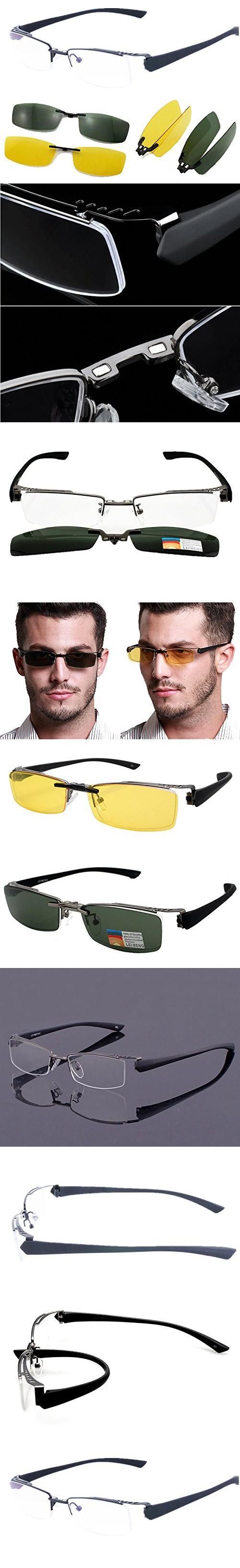 f18c75f695d Agstum Mens Half Rimless Myopia Glasses Frame Magnetic Clip On Sunglasses  (Gunmetal frame with 2pcs clip on