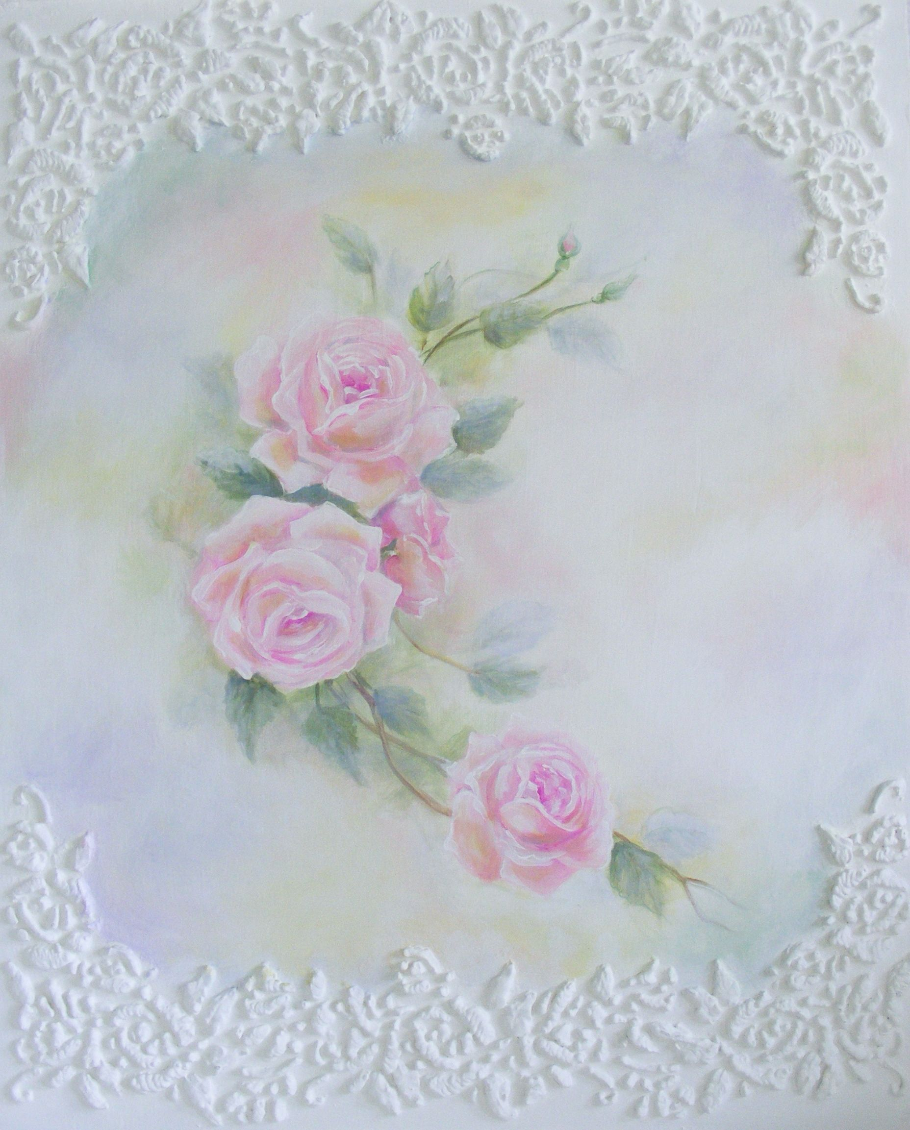 Shabby Rose Hand-painted Painting