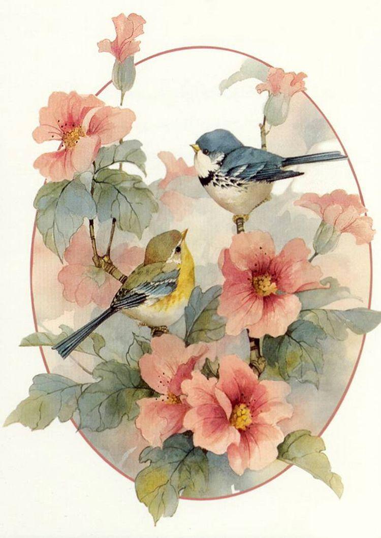 Изображениями цветов, картинки с цветами и птицами для декупажа