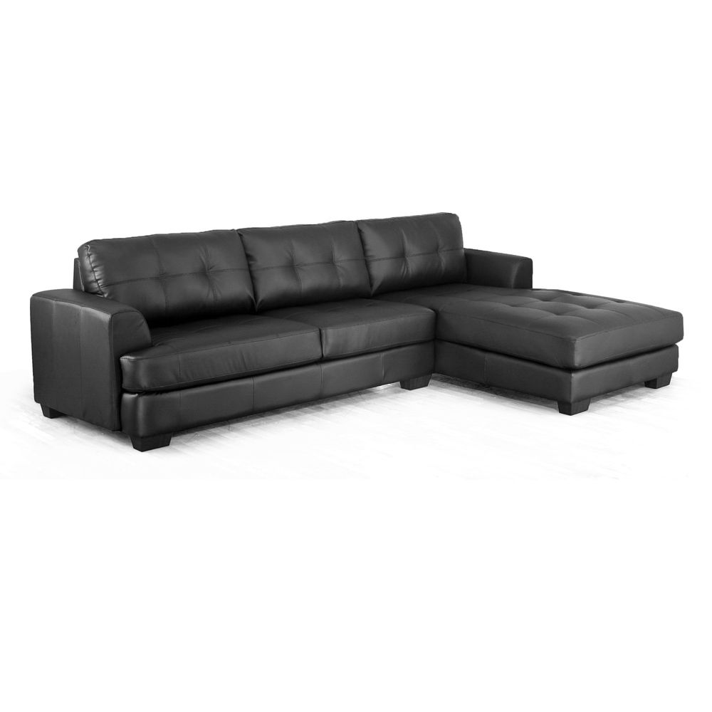 Dobson Black Leather Modern Sectional Sofa Sectional Sofa Black Baxton Studio Sectional