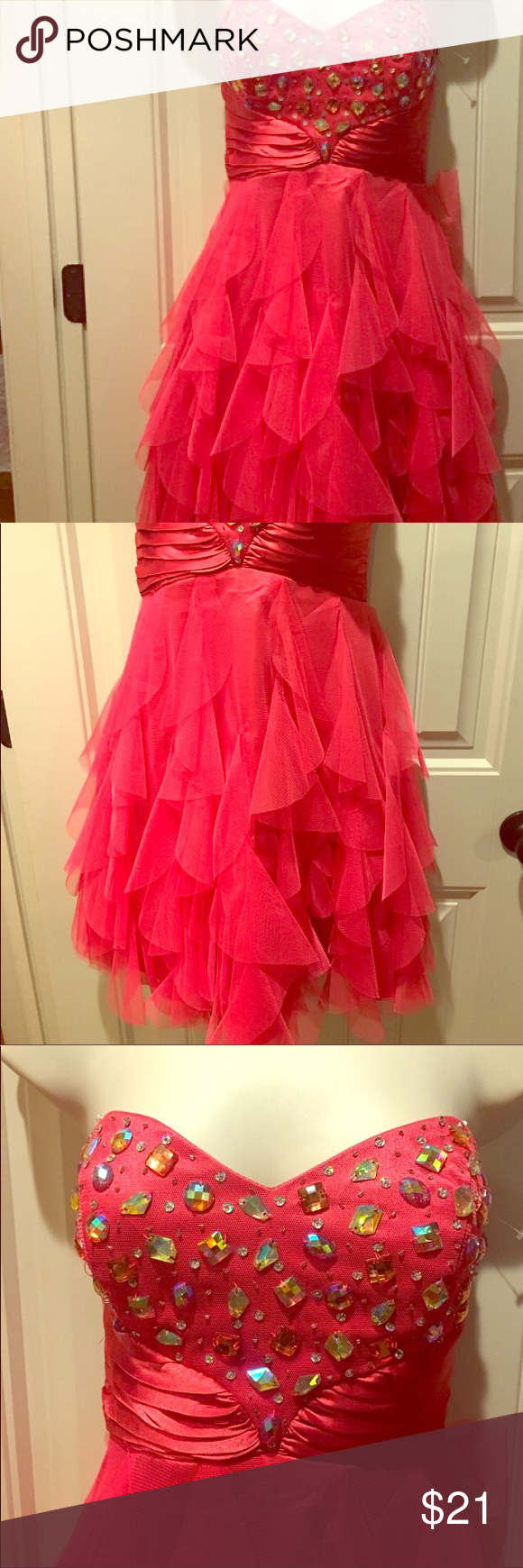 Guc flamingo cocktailsprom dress jr sz masquerade dresses