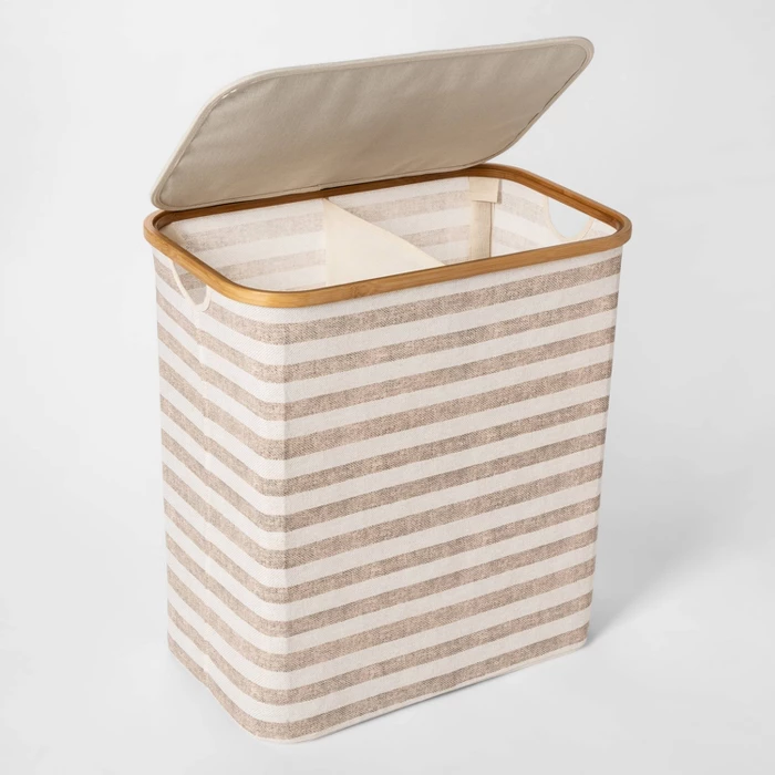 Soft Sided Laundry Hamper With Bamboo Rim Lid Striped Beige
