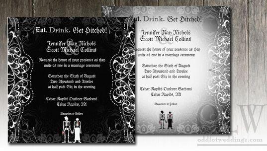 Gothic Skeleton Couple Invitations My Amazing Wedding Pinterest