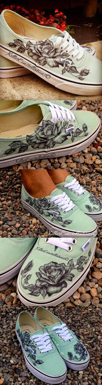 c5f2bf45f021 Custom Hand Drawn Sharpie Rose Design Vans Shoes