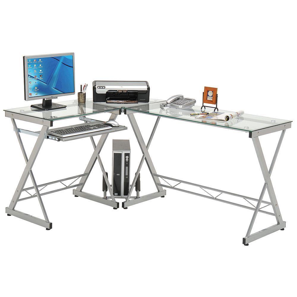 Brilliant Techni Mobili Glass Top L Shaped Computer Desk Products Interior Design Ideas Clesiryabchikinfo