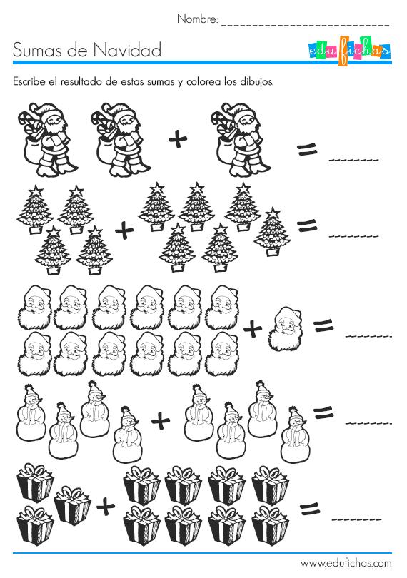 sumas con dibujos de Navidad | matemáticas para niños | Pinterest ...