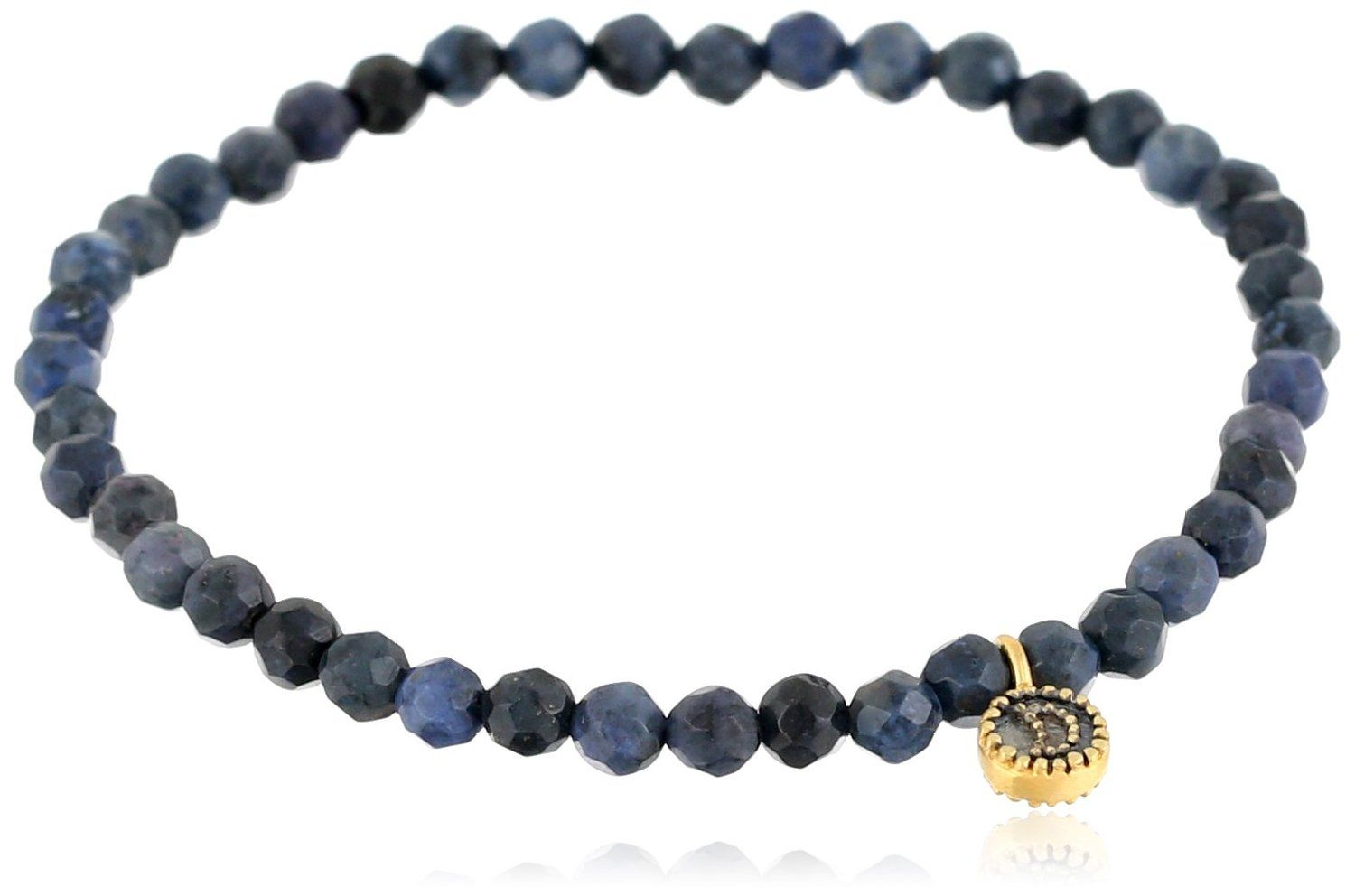 Satya Jewelry Celestial Dumortierite and Moon Charm Stretch Bracelet, 7' ** Save this wonderfull product