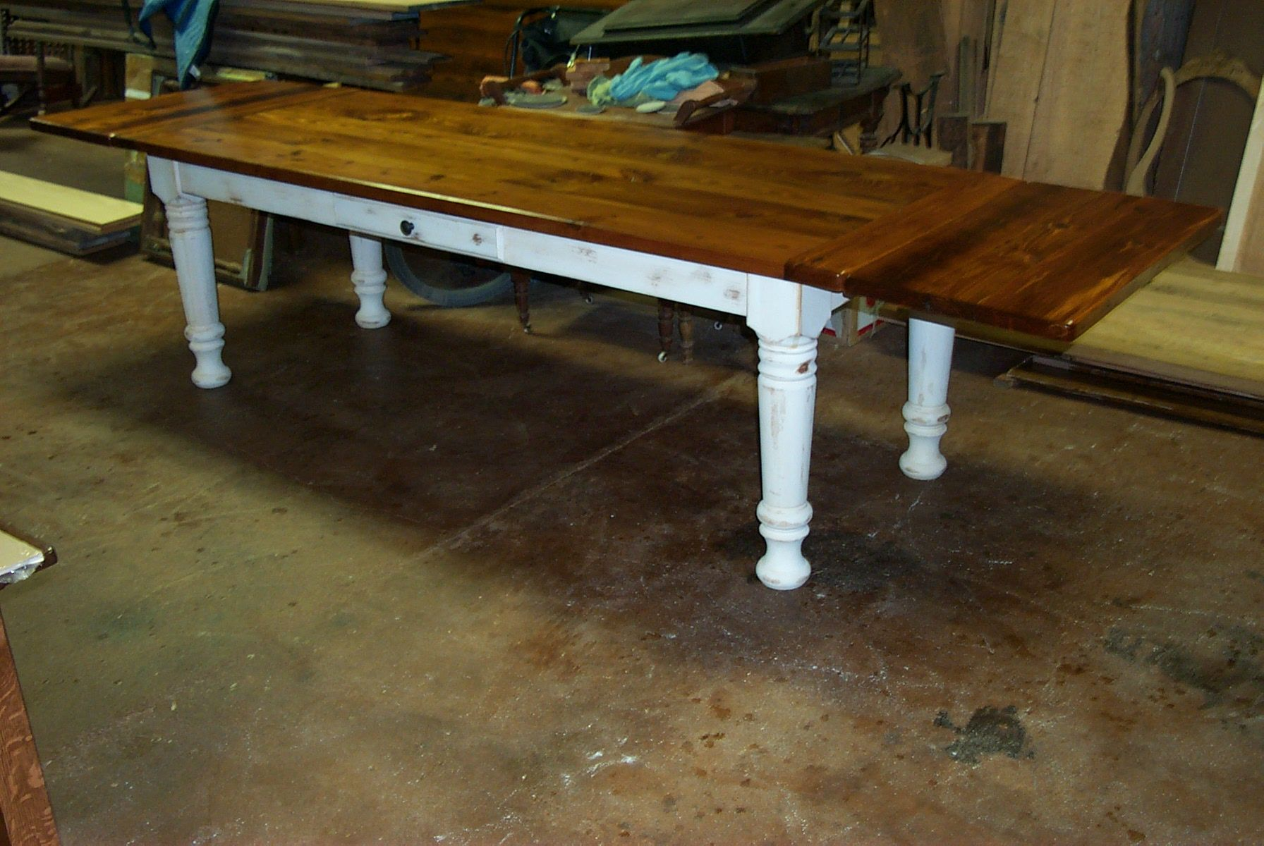 Antique Pine Harvest Table With Leaves