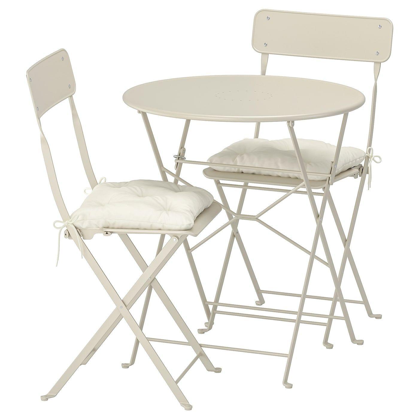 Saltholmen Tisch 2 Klappstuhle Aussen Beige Kuddarna Beige