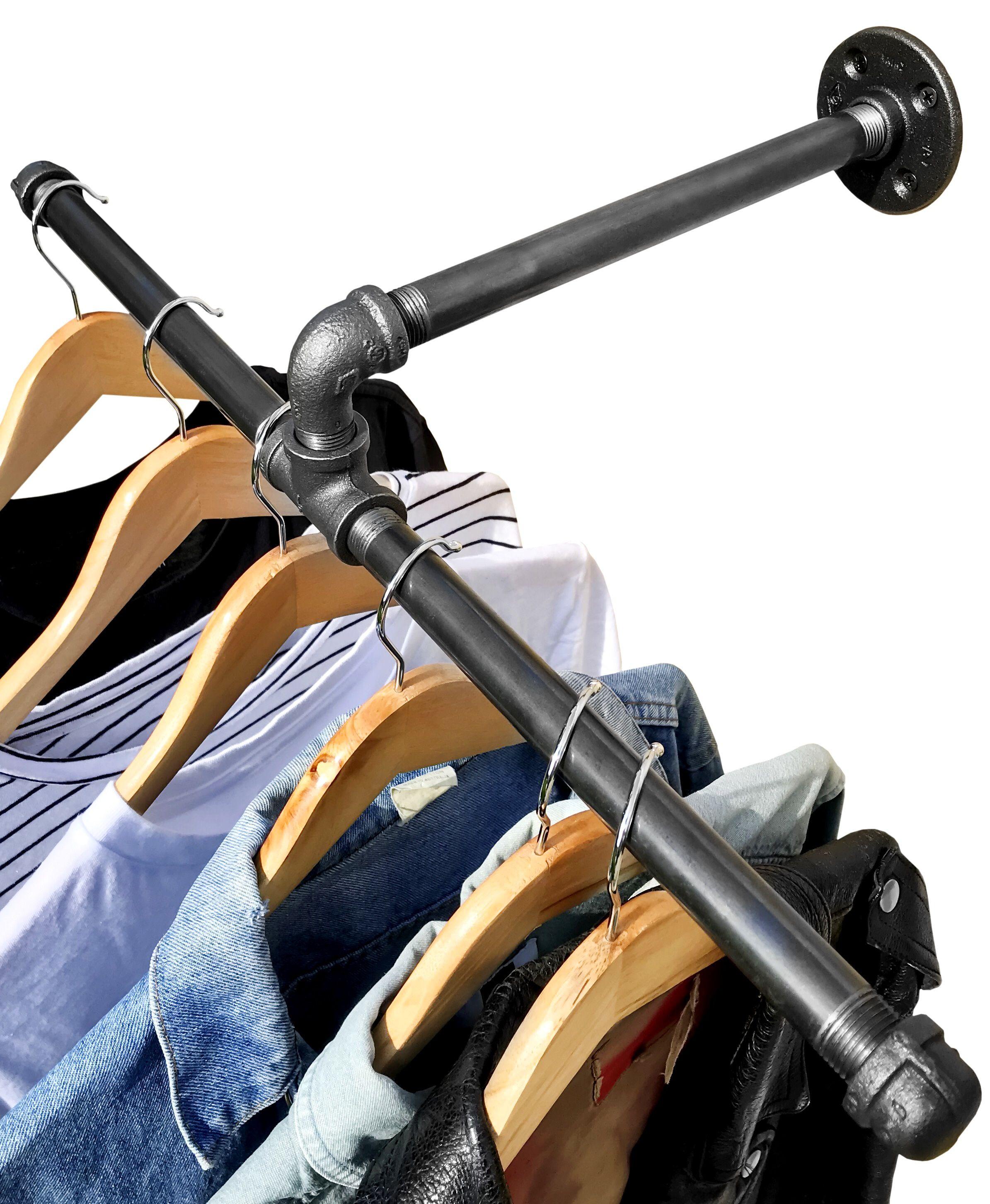 Industrial pipe wall mount clothing u garment rack by diy cartel