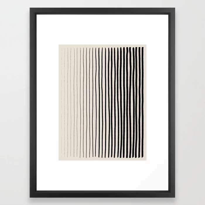 Black Vertical Lines Framed Art Print In 2021 Framed Art Prints Framed Art Art Prints